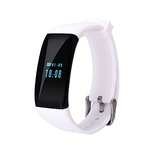 DR longess Fitness Tracker, app-Enabled Bluetooth 4.0Wasser Widerstand Smart Watch, Schlaf und Herzfrequenz Monitor kompatibel mit Android und iOS Smartphones, weiß