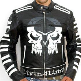 4LIMIT Sports Livin4limit Motorradjacke Leder Crossbones Biker Motorrad Jacke Lederjacke, Schwarz, Größe XXXL