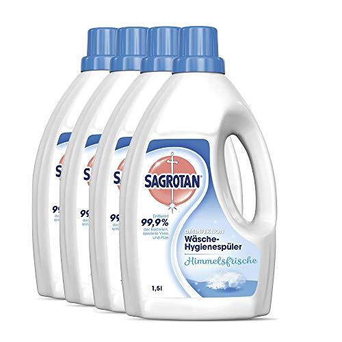 Sagrotan Wäsche-Hygienespüler Himmelsfrische – Desinfektionsspüler für hygienisch saubere und frische Wäsche – 4 x 1,5 l Reiniger im praktischen Vorteilspack