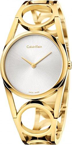 Calvin Klein Damen Analog Quarz Uhr mit Edelstahl Armband K5U2S546