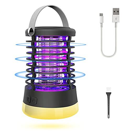 Elektrischer Insektenvernichter Mückenfalle Tragbare Campinglampe 5W max mit Griff 3 Verschiedene Licht mit eingebauter Batterie, die zur Reduzierung Fliegender Insekten in Innengärten im Freien