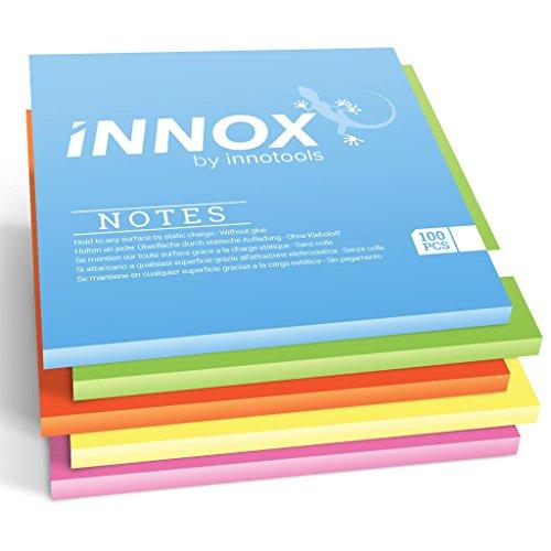 Elektrostatisch selbstklebende Haftnotiz | Für alle Oberflächen - Innovative Sticky Magnetic Notes ohne Klebstoff von INNOX® | Ideen visualisieren | Bunt, 10x10cm, 500 Blatt