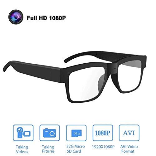 HFJ&YIE&H Kameragläser 1080P HD-Videobrille Max 32 GB Speicherkarte - Brille mit Kamera - Tragbare Kamera für Büro/Draussen/Ausbildung/Unterrichten/Kinder/Haustiere