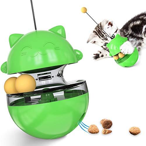 AEITPET Futterball für Katzen Katzenfutter Spielzeug Ball Interaktive Katzenspielzeug Tumbler Spielzeug Haustierfutter für Langsam Fütterung Training Nahrungsuche ungiftig Bite Feeding (Grün)