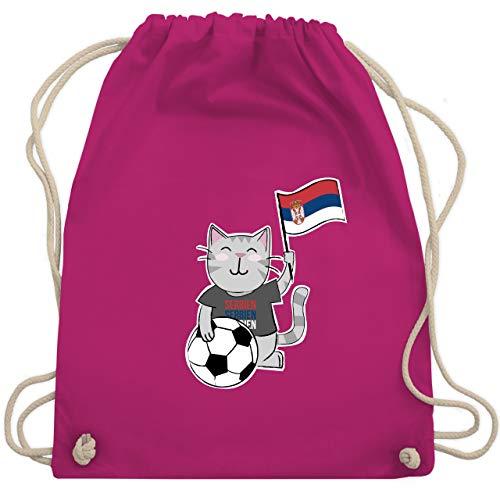 Fußball-Europameisterschaft 2020 Kinder - Fußball Katze Serbien - Unisize - Fuchsia - serbien trikot damen - WM110 - Turnbeutel und Stoffbeutel aus Baumwolle