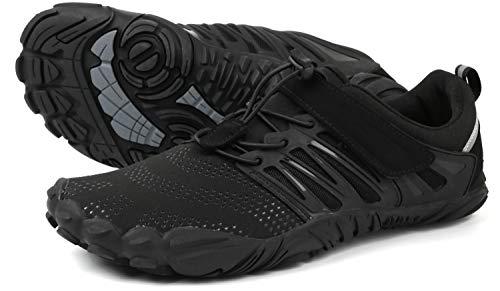WHITIN Herren Damen Traillaufschuhe Minimalistische Barfußschuhe 5 Five Finger Zehenschuhe Fivefinger Trail Laufschuhe Gym Fitness Barfussschuhe für Männer Turnschuhe Hallenschuhe Black Größe 44