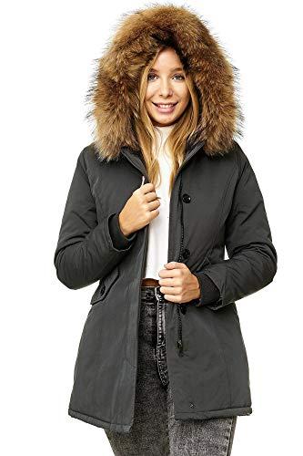Elara Damen Winterparka Echt Fell Jacke Mantel Grau Chunkyrayan EF-1601 Grey 42/XL