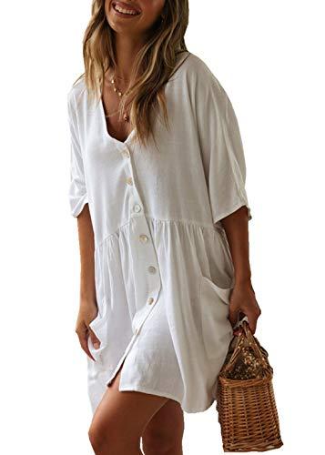 PANAX Damen Baumwolle Strandkleid Einreiher Strandponcho Style1 Weiß