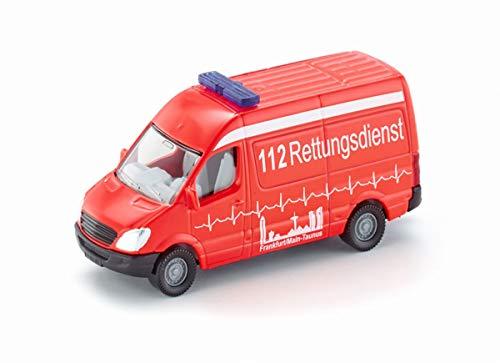 siku 0805, Krankenwagen, Metall/Kunststoff, Rot, Vielseitig einsetzbar, Spielzeugfahrzeug für Kinder