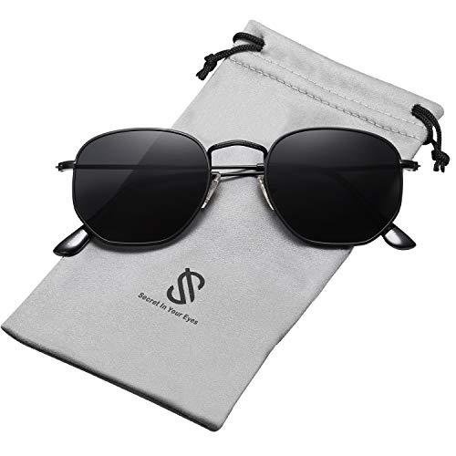 SOJOS Mode Polygon Sonnenbrille Damen Herren Verspiegelte Linse Leichte Unisex Brille SJ1072 mit Schwarz Rahmen/Grau Linse