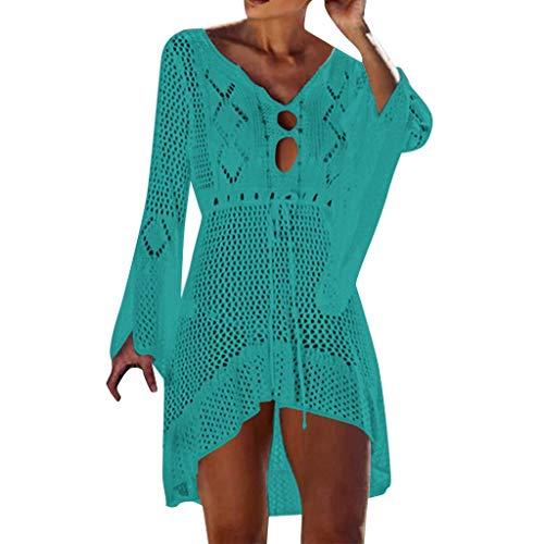 Damen T Shirt, CixNy Bluse Damen Diverse Styles Häkeln Hohl Stricken Glocke Ärmel Kurzarm Bandage Sonnencreme Strand Mantel Bikini Sonnenschutzkleidung Sommer Badeanzug Draußen Oberteil Tops