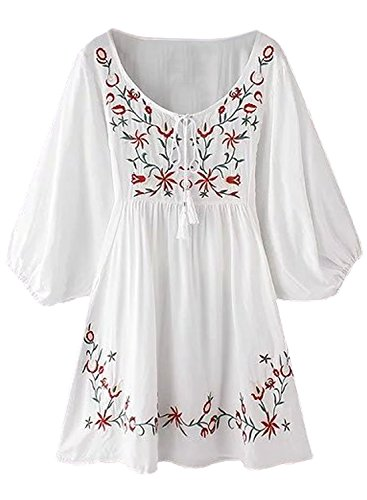 FUTURINO Damen Sommerkleid Bohemian Stickerei Floral Tunika Shirt Bluse Flowy Minikleid, 03 Weiße, L