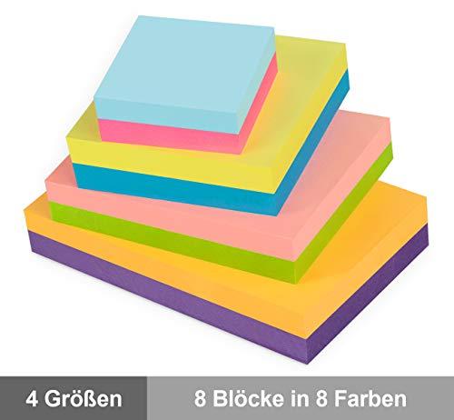8 Stück Notizzettel Haftnotizen Set, Selbstklebende Haftnotizzettel Sticky Notes zur Erinnerung, 4 Andere Größe Farbige Klebezettel bunt zettel Notizblöcke für Büro Haus