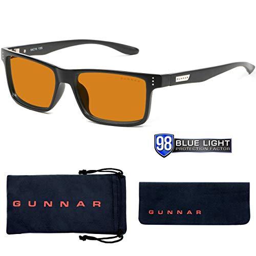 Gunnar Gaming- und Computerbrille | Model:Vertex, Rahmen: Onyx, Linse: Amber Max | Anti-Blaulicht-Brille | Patentierte Linse, 65% Blaulicht- & 100% UV-Lichtschutz zur Verringerung der Augenbelastung