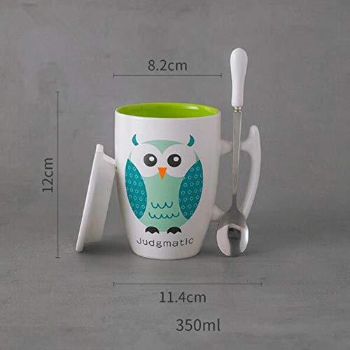 Espressotasse Geschenk Eule Keramik Tasse Tasse Mit Deckel Löffel Kaffeebecher Tasse Tiermuster Milchtee Buntes Trinkgeschirr, Grün, 301Ml-400Ml