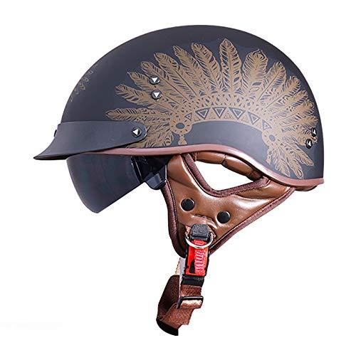 Retro Vintage Style Motorrad Halbhelm Brain-Cap Unisex Offenem Gesicht Cruiser Chopper Jet Helmhalbhelm Half Helm Rollerhelm ECE Zertifizierung Männer Frauen
