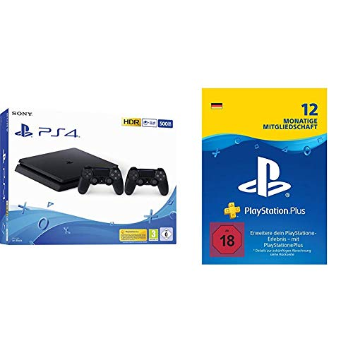 PlayStation 4 - Konsole (500 GB, schwarz, slim, F-Chassis) + zweiter DualShock 4 Controller + PS Plus Mitgliedschaft (12 Monate)