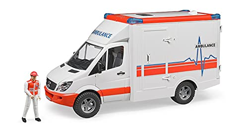 Bruder 02536 - Mercedes-Benz Sprinter Ambulanz mit integriertem Light and Sound Modul und Sanitäter