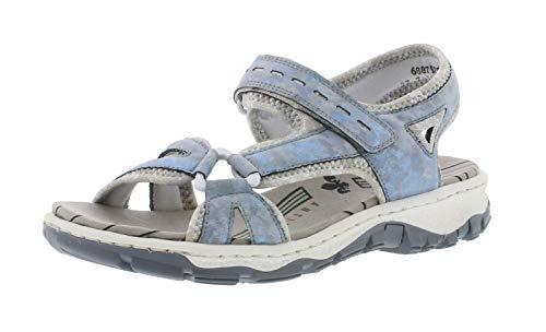 Rieker 68879 Damen Trekking Sandalen,Outdoor-Sandale,Sport-Sandale,Sommerschuh,heaven/silverflower/12/41 EU / 7.5 UK