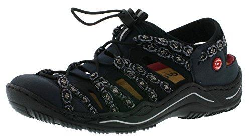 Rieker L0577 Damen Schnürhalbschuhe, Halbschuhe, Schnürer in Trekking Optik blau (Pazifik/Pazifik/schwarz-grau/schwarz / 15), EU 38