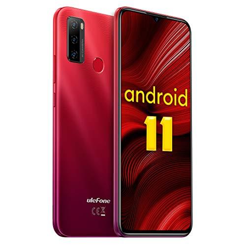 Ulefone Note 10 Android 11 Handys - 4G Smartphone ohne Vertrag Octa-Core 2+32GB(auf 128GB erweitern) 6,52-Zoll-Bildschirm 8+2+2MP Hauptkameras Gesichtsentsperrung/Fingerabdruck-ID/OTG (Rot)
