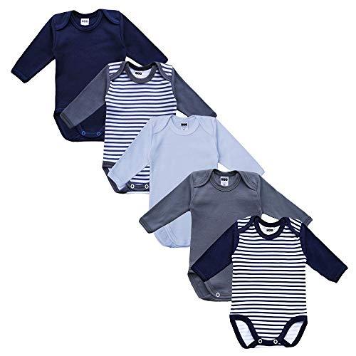 MEA BABY Unisex Baby Langarm Body aus 100% Baumwolle im 5er Pack, Baby Body mit Aufdruck, Baby Body für Mädchen, Baby Body für Jungen (56, Jungen)
