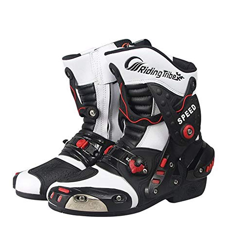 MRDEAR Motorrad Stiefel Herren Damen Motocross-Stiefel mit Einstellbare Belüftung, Motorradstiefel Kurz Sport Schuhe Cross Stiefel Wasserdicht Leder Motorradschuhe Touren Racing (42 EU,Weiß)