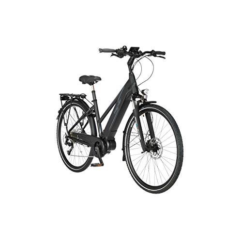 FISCHER Damen - Trekking E-Bike VIATOR 4.0i, Elektrofahrrad, schwarz matt, 28 Zoll, RH 44 cm, Mittelmotor 50 Nm, 48 V/418 Wh Akku im Rahmen