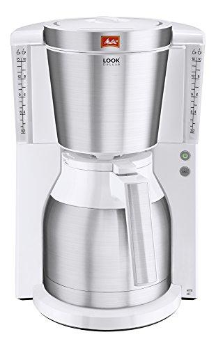 Melitta Look Therm Deluxe 1011-13, Filterkaffeemaschine mit Thermkanne, AromaSelector, Weiß Filter-Kaffeemaschine, 1.2 liters