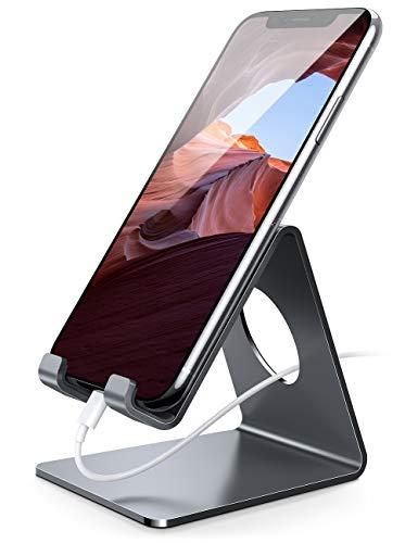 Lamicall Handy Ständer, Handy Halterung - Handyhalterung, Halter für iPhone 12 Mini, 12 Pro Max, 11 Pro, Xs Max, XR, X, 8, 7, 6 Plus, SE, 5, Samsung S10 S9 S8, Huawei, Schreibtisch, Smartphone - grau