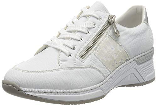 Rieker Damen Frühjahr/Sommer N4322 Sneaker, Weiß (Weiss/Weiss-Silber/Argento/ 80 80), 42 EU