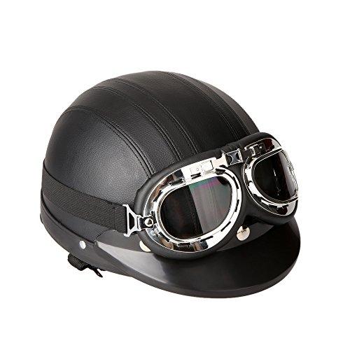 KKmoon Motorrad Roller Open Face halbes Leder-Helm Winter Winddichter Helm mit Visier UVschutzbrille Retro Vintage Style 54-60cm (Schwarz)
