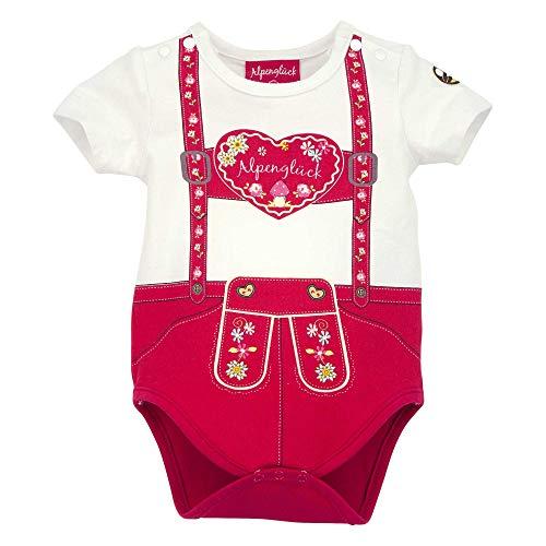 BONDI Baby-Body 'Hosenträger Herz' aus Baumwolle Gr. 68 I Schöner Mädchen-Body in Rot I Body für Babys mit Hosenträger-Herz-Print I Baby-Bodysuit aus Stretch I Wunderschöne Babykleidung