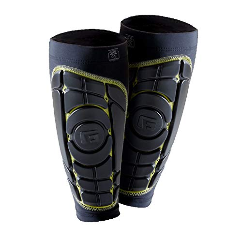 G-Form Pro-S Elite Schienbeinschoner (Herren/Damen) für Fußball, Kickboxen und Kampfsport, Inliner, Skateboard, mit erweitertem Schlagschutz und verbesserter Flexibilität - Schwarz und Gelb - Größe XL