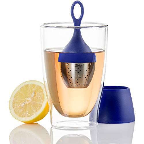 AdHoc Teefilter Floatea, Tee-Ei Schwimmend, Filter, Tee Sieb, Teesieb, Edelstahl/Kunststoff, 12.5 cm, Blau, TE17