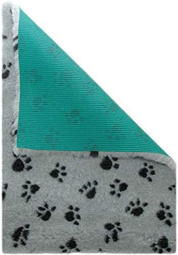 Medbed Premium - Die medizinische Hundedecke | VetBed | Waschbar | Feuchtigkeitsabsorbierend | Isolierend | Antiallergen | Atmungsaktiv | Extrem robust (70x100 cm, Pfötchen-Grau)