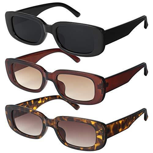 Gaosaili 3 Stücke Vintage Rechteckige Sonnenbrille für Damen und Herren, Sonnenbrille Rechteckig Retro Brille mit UV Schutz Sunglasses (DREI Stile)