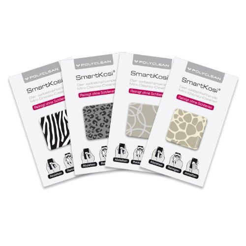 POLYCLEAN 4X SmartKosi Display-Cleaner – Selbsthaftende Reinigungspads für Smartphone, iPhone, Tablet & co. – Streifenfreie Reinigung – Made in Germany (2,8 x 2,8 cm, Motiv Animal Print, 4 Stück)