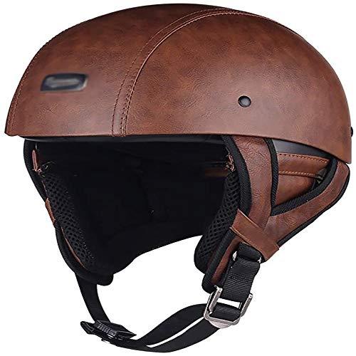 Actoor Retro Harley PU Leder Motorrad Halbhelme Halbschale Jet Helm Motorrad Helm ECE Zertifizierung Bike Cruiser Chopper Männer und Frauen