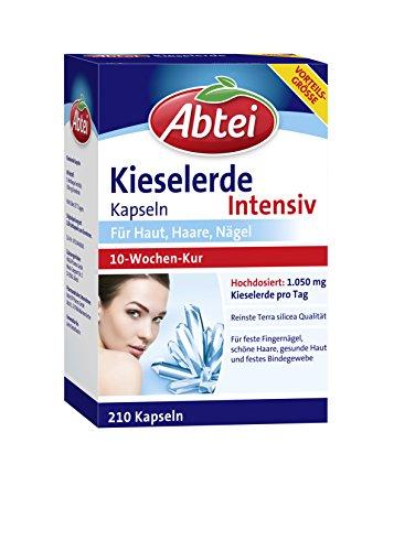 Abtei Kieselerde Intensiv, Kieselerde Kapseln hochdosiert, hochwertiges Naturprodukt mit Silicium für Haut, Haare und Nägel, 10 Wochen Kur, 210 Stück