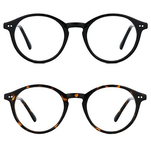 TIJN 2er Pack Blaulicht-Schutzbrille Runde Computerbrille Rahmen Nicht verschreibungspflichtige Brille für Herren und Damen