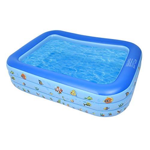 Bellanny Aufblasbare Pool Rechteckig 250 * 170 * 55cm Familienpool Aufblasbare Schwimmbäder Schwimmbecken für Kinder Aufblasbarer Planschbecken Schwimmbad Kinder für Draussen, Garten, Easy Set