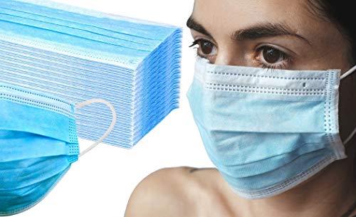 50x EWANTO Mundschutzmasken Einweg Gesichtsmaske 3-lagig BFE 95% Hygiene-Maske Mund Nasen Schutz mit Ohrenschlaufen GB/T32610-2016 + 1x Reinigungstuch