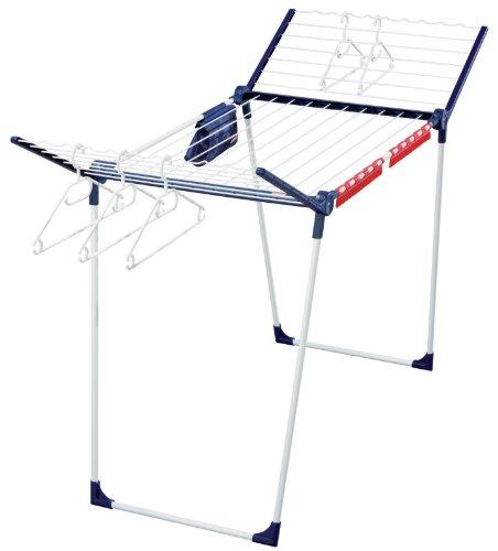 Leifheit Standtrockner Pegasus 200 Solid Deluxe mit 20 m Trockenlänge, Wäscheständer für lange Wäschestücke, Flügelwäschetrockner mit Bügelstangen