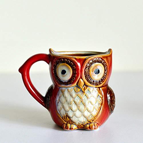 HENGCHENG Espressotasse Geschenk Bunter Eulen-Becher Unterglasierte Keramische Tierkaffee-Tee-Schalen-Küchen-Tonwaren-Weinlese-Büro-Dekor-Einzigartige Eulen-Liebhaber-E, Rosa, 301-400Ml