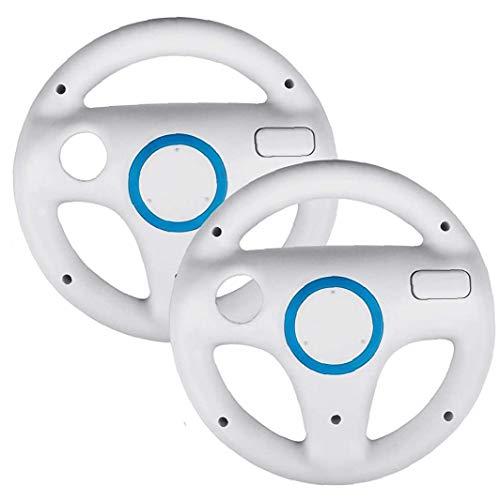 Naicasy 2 Satz Lenkräder Anzug für Mario Kart Wii, Anzug für Mario Kart Racing Wheel fit für Nintendo Wii (weiß)