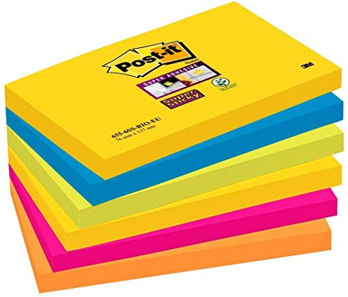 Post-it Super Sticky Notes Rio de Janeiro Collection 6556SR – Selbstklebende Haftnotizzettel in 76 x 127 mm – 6 Notizblöcke rechteckig à 90 Blatt in 5 Farben, ultragelb,blau,pink, neongrün,orange