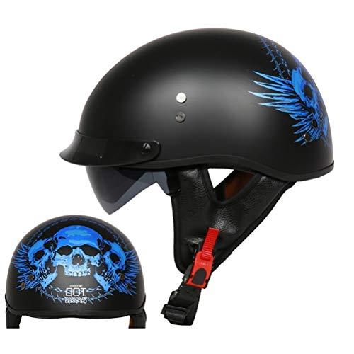 Motorrad Halbhelme Brain-Cap · Halbschale Motorrad-Helm Jet-Helm Roller-Helm Scooter-Helm Mofa-Helm Retro Harley Motorrad Half Helm mit Built-in Visier für Cruiser Chopper Biker