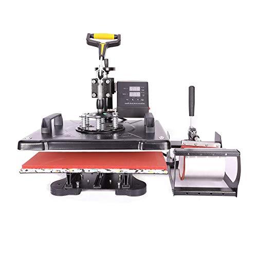 Sfeomi 5 in 1 Hitzepresse Heißpresse Heat Press Machine 38x30cm Transferpresse Tassenpresse Textilpresse Mulitifunktional Sublimation Wärmepresse Maschine 360 Grad für T-Shirts Becher Platten Kappe