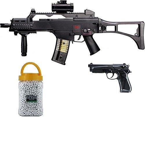g8ds Set: HK Heckler & Koch G36 C AEG Elektrisch Softair Gewehr + Softair Pistole Beretta 90 Two Federdruck Premium Bio BB Softairkugeln weiß 6mm 0,20g 5000 BBS